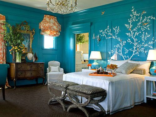 Like how the chandelier in this bedroom blue white and yellow was - 20 Bedroom Color Scheme Ideas